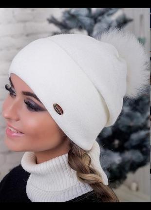 Акция! зимняя шапка мех песец! новая с биркой!