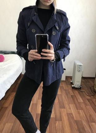 Крутой синий тренч плащ пальто zara