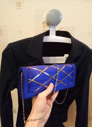 Маленькая женская вечерняя синяя сумочка клатч