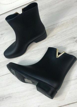 Матовые черные резиновые сапоги, силиконовые сапожки , гумові черевики, силіконові чоботи