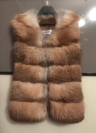 Жилет меховый из лисы 🦊 со вставками замш