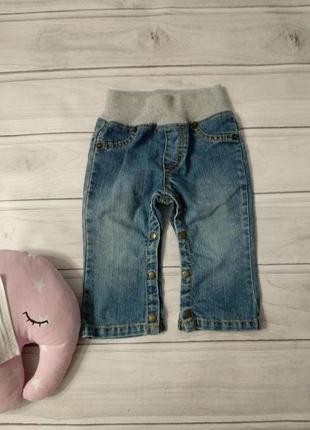 Очень удобные джинсы на кнопках и трикотажном поясе, рост 74см