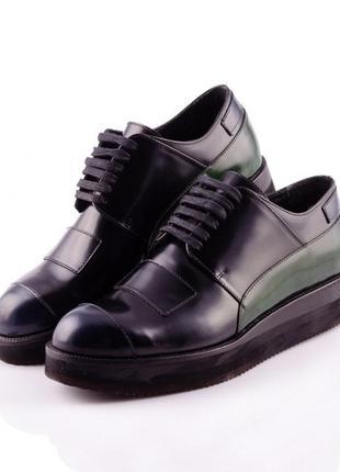 Дерби женские casamadre 0312/137 черные с зелеными элементами