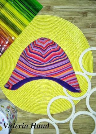 Отличная яркая демисезонная шапка на флисовой подкладке - возраст 6-18 месяцев