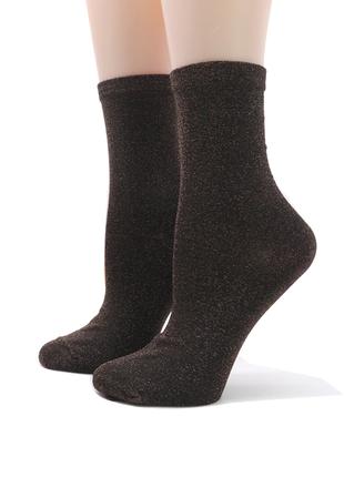 Коричневые блестящие носки с люрексом / носочки с металлическим отливом глиттер