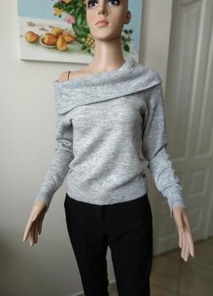Серый укороченый свитер,кофта с объемным воротником/альпака/шерсть