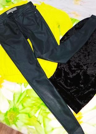 Очень крутие джынси штани изумрудные кожаные
