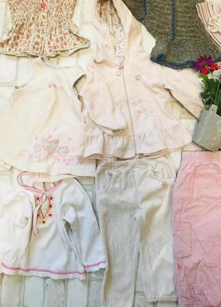 Пакет брендовых вещей для ребёнка 1-1,5 года, шапка костюм, колготки, штаны, блузка