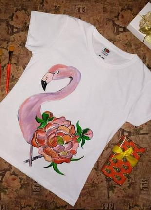 Футболка с ручной росписью / с рисунком фламинго
