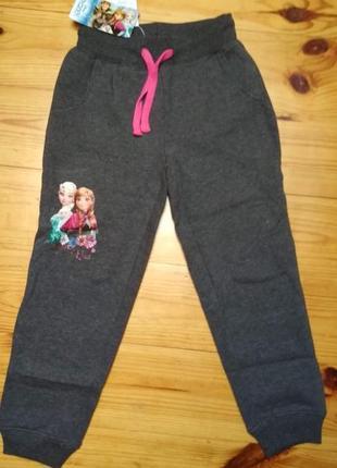 Спортивные, трикотажные брюки с начесом для девочек оптом, frozen disney
