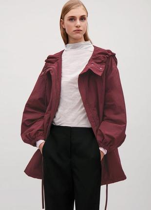 Cos куртка женская весенняя парка на утеплителе бургунди размер 36 s