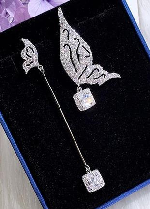 Шикарные асимметричные серьги мини бабочки, покрытие серебро 925 пробы, цирконы2 фото