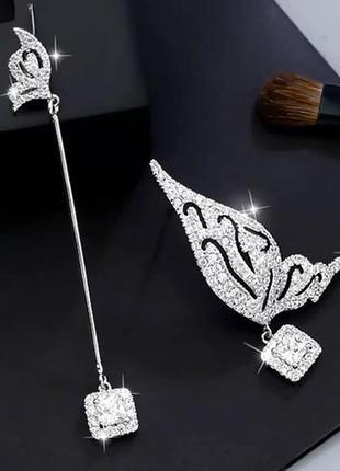 Шикарные асимметричные серьги мини бабочки, покрытие серебро 925 пробы, цирконы3 фото