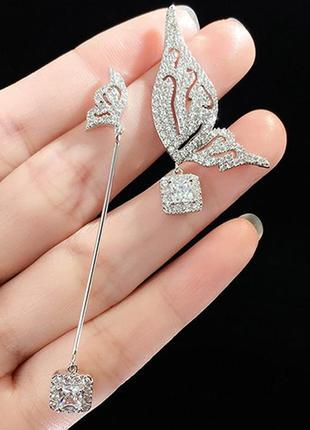 Шикарные асимметричные серьги мини бабочки, покрытие серебро 925 пробы, цирконы4 фото