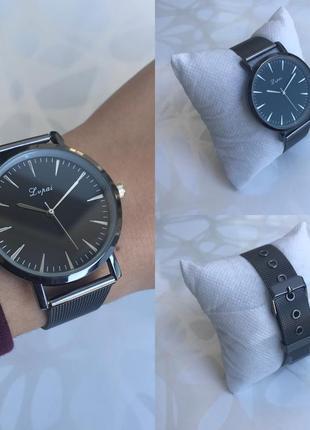 Наручные часы lvpai с металлическим ремешком черные графит