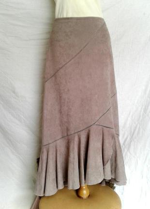 Плюшевая юбка кофейного цвета, l.