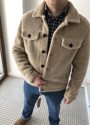 Натуральная овечья шерсть! бежевая мужская куртка дубленка пальто шуба