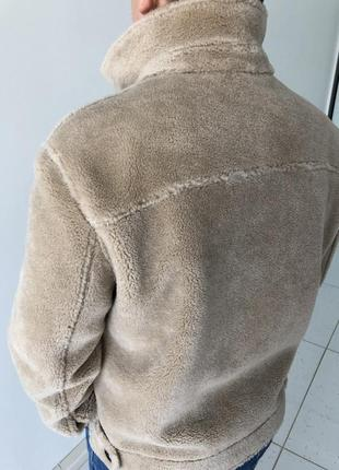 Натуральная овечья шерсть! бежевая мужская куртка дубленка пальто шуба3 фото