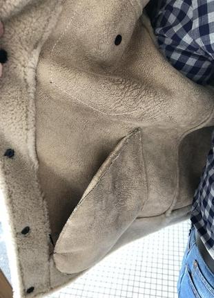 Натуральная овечья шерсть! бежевая мужская куртка дубленка пальто шуба4 фото