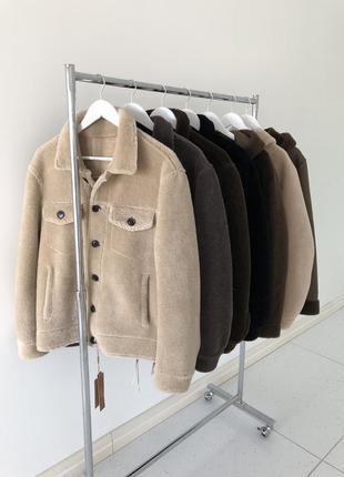 Натуральная овечья шерсть! бежевая мужская куртка дубленка пальто шуба5 фото