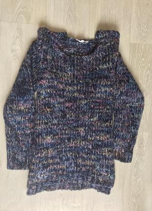 Разноцветный теплый свитер кофта