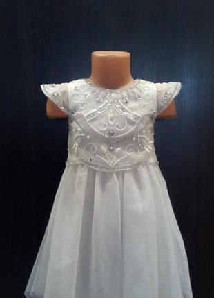Белое платье,с пайетками,вышивка,фатин юбка,3-4