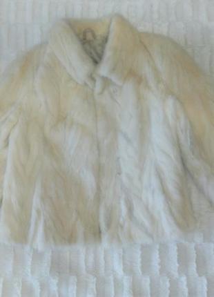 Возможен торг! белая норковая шуба из натурального меха из кусочков