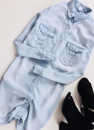 Стильное джинсовое платье на пуговицах с длинным рукавом от h&m