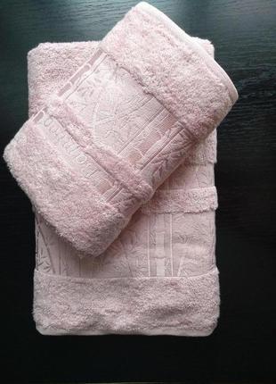 Набор бамбуковых полотенец 2шт. 70х140+50х90 розовый