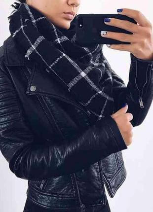 Крутой в стиле zara шарф-плед-платок в клетку,черный,зимний,демисезонный