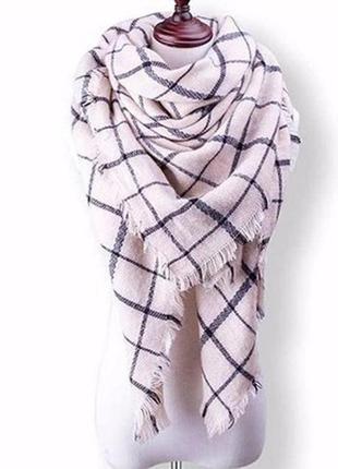 Крутой в стиле zara шарф-плед-платок,косынка,палатин молочный,белый в клетку