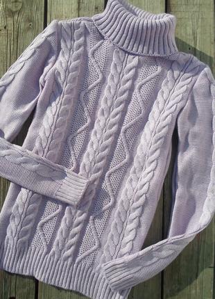 Вязаный сиреневый свитер с горлом,гольф ,водолазка ,6 цветов , 42-46р ,с-м-л