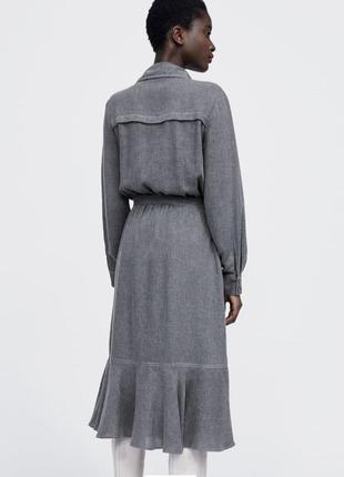 Платье с м л миди на поясе серое макси оригинал с рюшами zara с воланом оборки