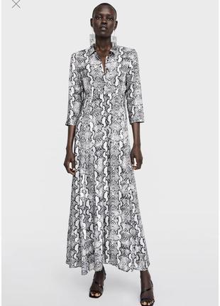 Платье змеиный принт animal print длинное макси zara оригинал