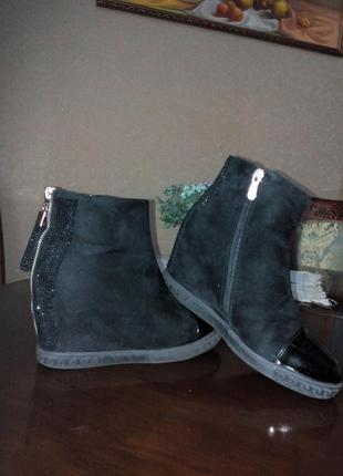 Зимние ботинки из эко-замша