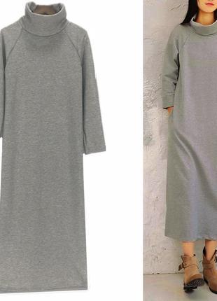Комфортное платье с горлом,карманами,от производителя,зима-весна,мягкое,10 цветов,xs-xxxxl
