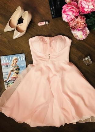 Шикарное нарядное  платье класса «люкс» персикового цвета с корсетом mori lee