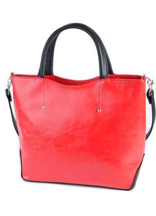 Красная деловая сумка с маленькими ручками и ремешком через плечо