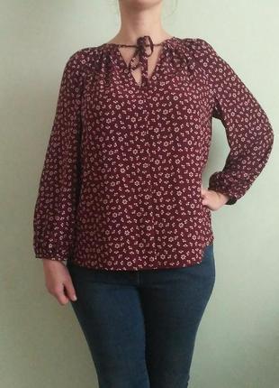 Шикарная блуза марсала с завязками