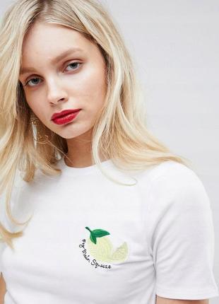 New look коротка біла футболка вишиті лимони доставка сутки