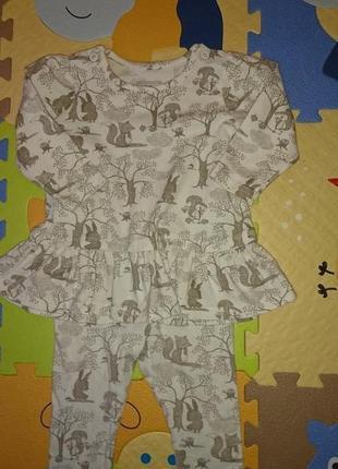 Костюм костюмчик комплект пуника - платье + лосины h&m 4-6 месяцев