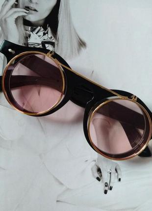 2в1 очки солнцезащитные+имиджевые круглые панк двойной флип