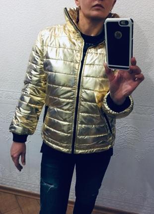 Стеганная куртка весна-осень, турция 164 остались - цвет золото, акция