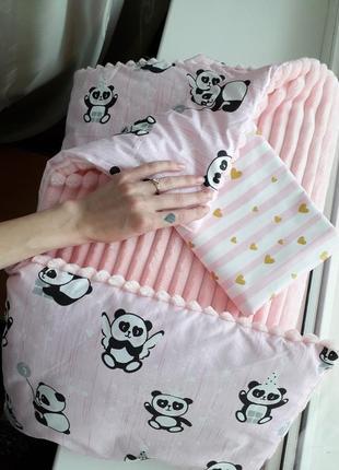 Набор в коляску: плед с утеплителем, подушка, пеленка