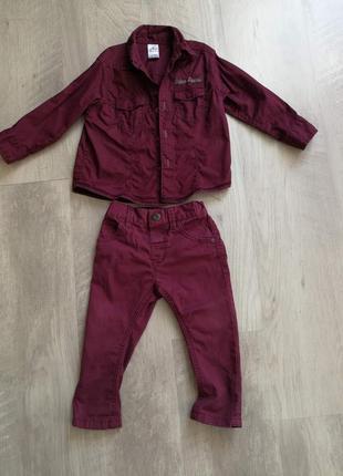 Нарядный бордовый комплект рубашка и джинсы-узкачи