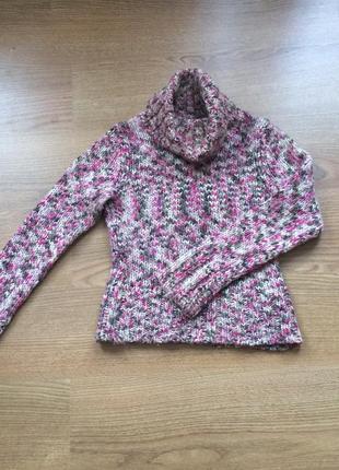Теплый меланжевый свитер вязаный под горло крупная вязка шерсть