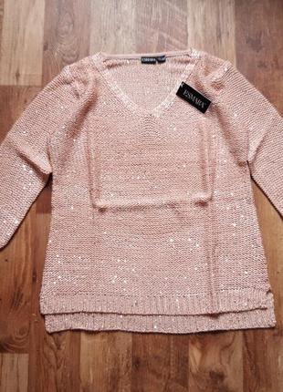 Персиковый пуловер с пайетками размер s, 38-53 ю