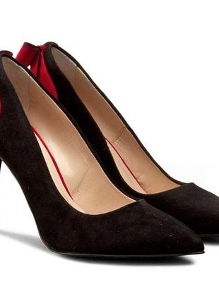 Стильные туфли красно-черные2 фото