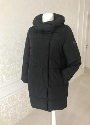 Пальто, куртка длинная чёрная , на терракотовой подкладке, италия