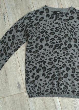 Свитшот, кофта свитер леопард с вырезом джемпер, жакет, туника, реглан